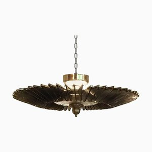 Vintage Brass and Murano Glass Chandelier, Italy, 1990s