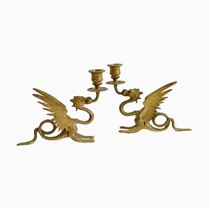 Antique French Griffin Candleholders in Bronze, Set of 2