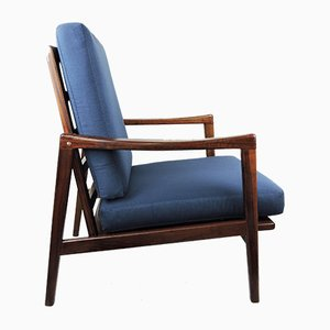 Mid-Century German Rosewood Armchair in Navy, 1960s