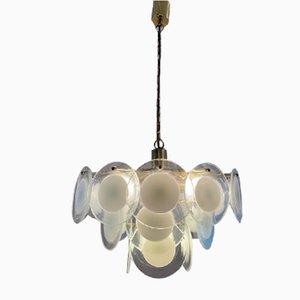 Italian Hanging Glass Disc and Brass Chandelier in the Style of Vistosi, 1970s