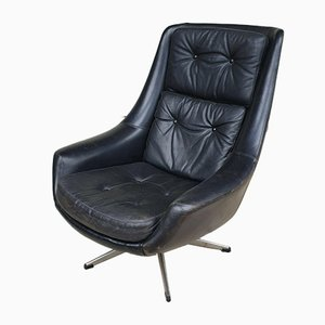 Mid-Century Danish Leather Swivel Egg Lounge Chair