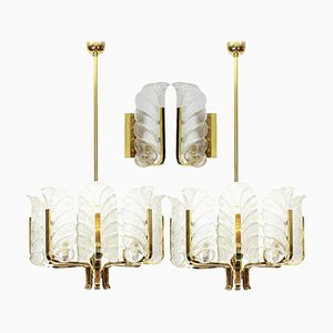 Leaves Brass Light Fixtures by Carl Fagerlund for Orrefors, Sweden, 1960s, Set of 4