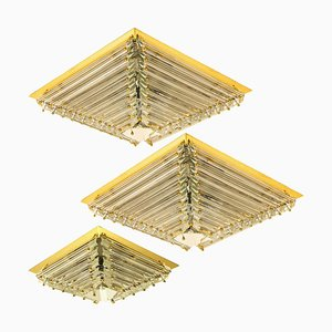 Gold-Plated Pyramide Flush Mounts by Venini, 1970s, Set of 3