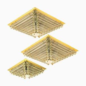 Vergoldete Pyramide Deckenlampen von Venini, 1970er, 3er Set