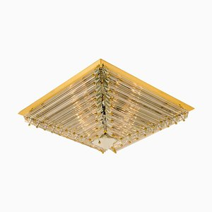 Large Gold-Plated Pyramide Flush Mount by Venini, Italy, 1970s