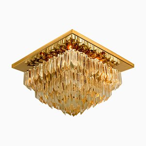 Square 4-Tier Gilt-Plated Flush Mount by Venini, Italy, 1960s
