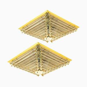 Vergoldete Pyramide Deckenlampen von Venini, Italien, 1970er, 3er Set