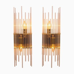 Modern Glass Rod Waterfall Wall Sconces by Gaetano Sciolari for Lightolier, 1970s, Set of 2