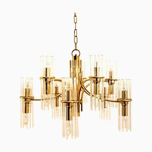 Tube Rod Brass Chandelier by Gaetano Sciolari for Lightolier, 1960s