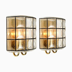 Iron and Bubble Glass Sconces Wall Lamps by Glashütte Limburg, Germany, 1960s, Set of 2