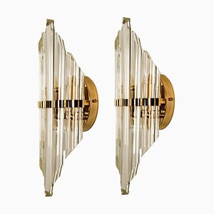 Large Murano Glass and Gold-Plated Sconces in the Style of Venini, Italy, 1970s, Set of 2