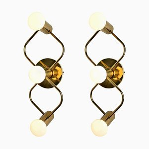 Sculptural Brass Wall Lights by Leola, 1970s, Set of 2