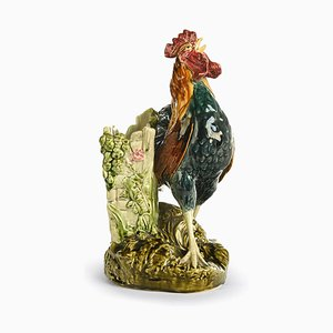 Antique Rooster Earthenware Vase by Louis-Robert Carrier Belleuse