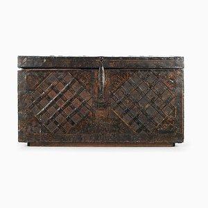 Antike napoleonische Holztruhe mit Stahl Furnier