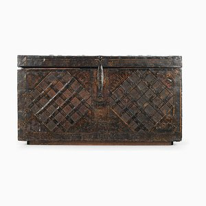 Antique Napoleonic Wooden Trunk with Steel Veneer