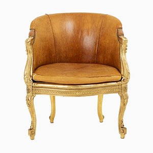 Transition Style Bergere in Giltwood and Leather, 1880s