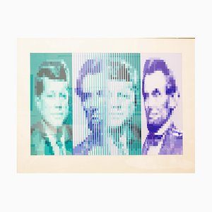 JP Vasarely, John F. Kennedy & Abraham Lincoln Serigraph in Colors on Wove Paper, 1979