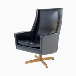 Swedish Leatherette Swivel Lounge Chair, 1950s