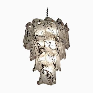 Black and White Murano Glass Chandelier, Italy, 1980s