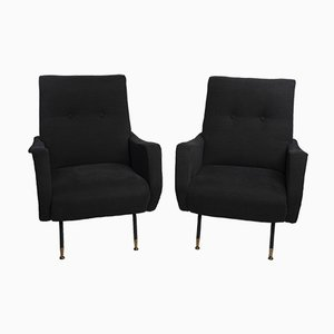 Italian Black Lounge Chairs in the Style of Zanuso, 1960s, Set of 2