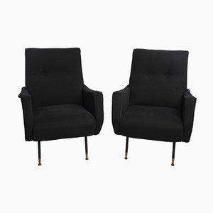 Italienische Schwarze Sessel im Stil von Zanuso, 1960er, 2er Set