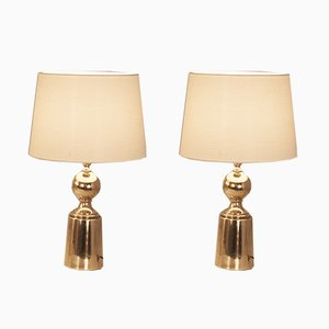 Vintage Brass and White Lampshade Table Lamps from Metalarte, 1970s, Set of 3