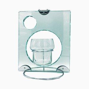 Glass and Chromed Metal Toilet Brush Holder from Fontana Arte, 1970s