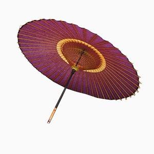 Großer japanischer Sonnenschirm in Violett, 1980er