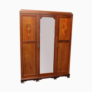 Large 3-Door Mahogany Mirrored Wardrobe with Inlay, 1940s