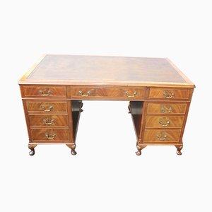 Schreibtisch aus Mahagoni mit brauner Lederplatte, 1940er