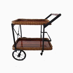 German Rattan and Iron Serving Trolley, 1960s