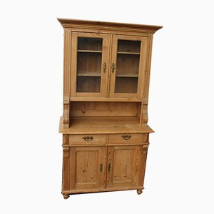 Country Pine Dresser with Glazed Display Top, 1920s