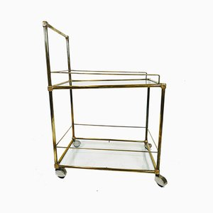 Copper and Brass Bar Trolley with Glass Shelves, 1970s