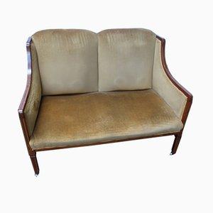 Antikes edwardianisches 2-Sitzer Sofa aus Mahagoni mit goldenem Stoffbezug