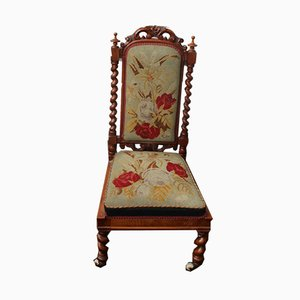 Barley Twist Hall Chair with Floral Upholstery, 1910s