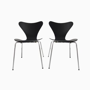Mid-Century Matt Black Dining Chairs by Arne Jacobsen for Fritz Hansen, Set of 2