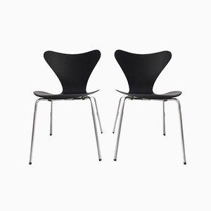 Mid-Century Matt Black Dining Chairs by Arne Jacobsen for Fritz Hansen, Set of 2