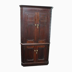 4-Door Oak Corner Cupboard on Stand, 1900s