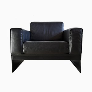 Black Leather Korium Lounge Chairs by Tito Agnoli for Matteo Grassi, 1988, Set of 2