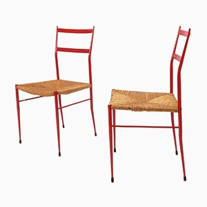Mid-Century Metal & Straw Leggera Style Dining Chairs, 1960s, Set of 2