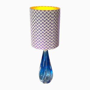 Blaue Mid-Century Glas Tischlampe von Val Saint Lambert, 1950er