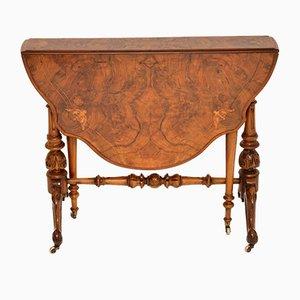 Antique Burr Walnut Drop Leaf Sutherland Table