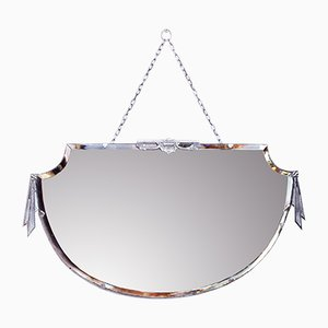 Art Deco Mirror with Silver Bronze Decor, 1930s