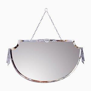Art Deco Mirror with Silver Bronze Decor, 1930s