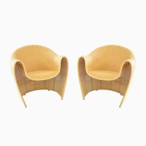 Rattan King Tubby Armchairs by Miki Astori for Driade, 1990s, Set of 2