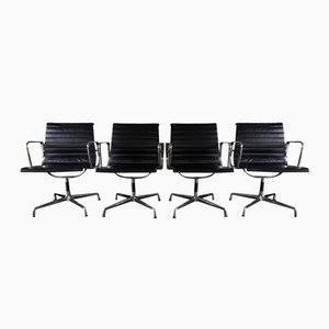 EA 107 Leather Office Chairs by Charles and Ray Eames for Vitra, Set of 4
