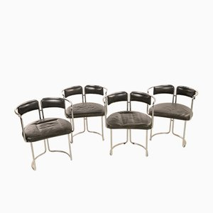 Black Leather and Chromed Steel Dining Chairs, Italy, 1970s, Set of 4