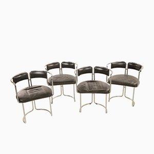 Esszimmerstühle aus schwarzem Leder & verchromtem Stahl, Italien, 1970er, 4er Set