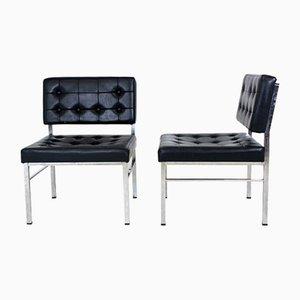 Schwedische Kunstleder Sessel, 1950er, 1950er, 2er Set