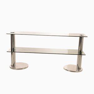 Console Table in Steel and Dark Glass, Italy, 1960s